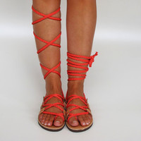 """NEW Lace up Sandals, handmade, Unique design with braided coral straps  """"APHRODITE"""" AS33  All sizes Available"""