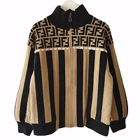 Fendi New fashion more letter print stripe long sleeve coat women