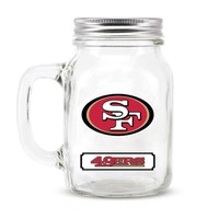 San Francisco 49ers NFL Mason Jar Glass With Lid