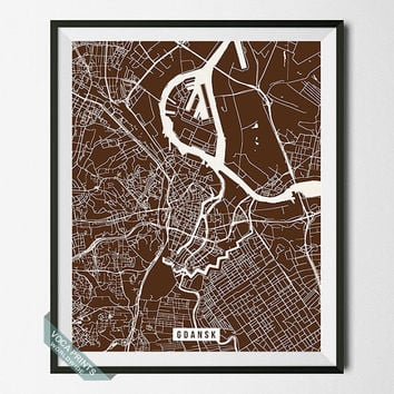 Gdansk Print, Poland Poster, Gdansk Street Map, Poland Print, Gdańsk, Home Wall Art, Dorm Decor, Room Decor, Wall Print, Back To School
