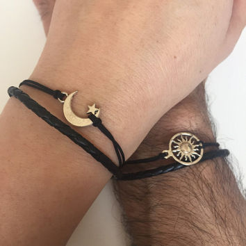 Couples Bracelets 298- friendship love cuff moon and sun bracelet leather braid gift adjustable current trendy  innovative