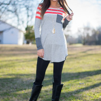 One Of These Days Tunic,Coral/Gray