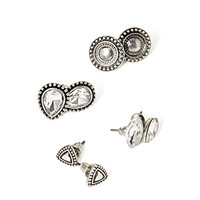 FOREVER 21 Faux Gem Geo Stud Set Silver/Clear One