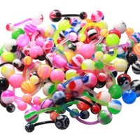BodyJ4You Belly Button Rings Flexible Bar Lot of 50 Pieces Piercing Jewelry