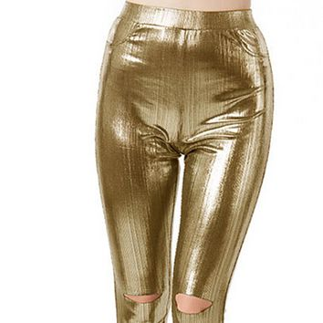 Explosive tight-fitting temperament high-waisted stretch trousers
