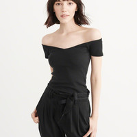 Womens Off-The-Shoulder Rib Cropped Top | Womens Tops | Abercrombie.com