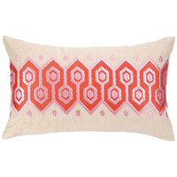 Springtime Soiree Pathway Coral Embroidered Pillow