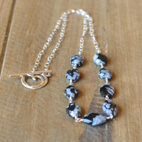 Natural Snowflake Obsidian Necklace, Handmade Sterling Silver Necklace. Black and White Jewelry. Ready to ship.