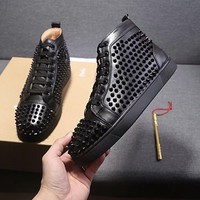 Men's Christian Louboutin Cl Black Sneaker With Spikes