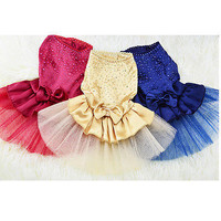 Dog Cat Princess Dress Pet Puppy Skirt Clothes Apparel Stars&Bow 5 sizes 3C
