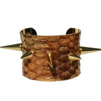 Gold Spiked Cuff Bracelet-Snakeskin-By LEATHER WRAPS
