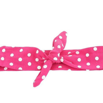 Hot Pink Polka Knotted Headband