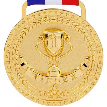 Gold Silver Bronze Medals for 1st 2nd 3rd Place Awards with Option of Bright or Antique Finish, Red White Blue Ribbon and Small Velvet Gift Bag is Included with Every Medal - Sold Separately Bright Gold