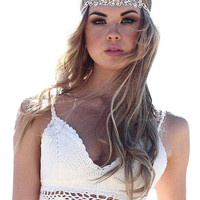 White Halter Bralet In Hand Crochet