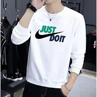 NIKE Just Doit New fashion letter hook print couple top t-shirt White