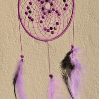 Violet / Purple Dreamcatcher with Blue Sandstone and plastic beads, wall hanging