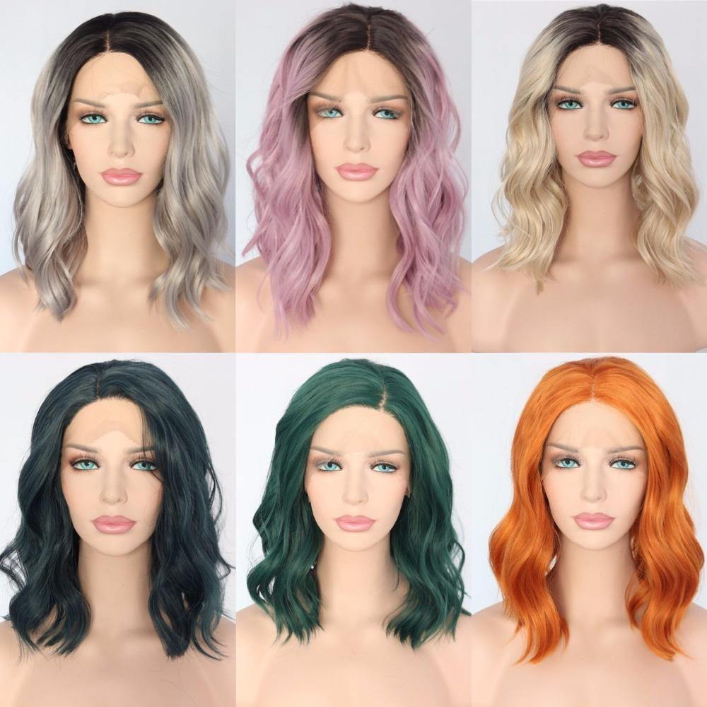 Image of Polaris- Short Heat Resistant Hair Dark Green Hand Tied Synthetic Lace Front Wig