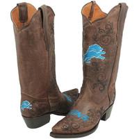 Detroit Lions Womens Embroidered Cowboy Boots - Brown