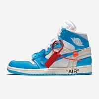 "Off-White x Air Jordan 1 UNC ""Dark Powder Blue"" - Best Deal Online"