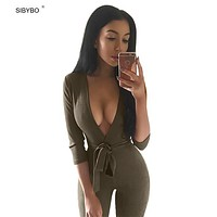 Women Jumpsuits 2016 New Autumn Winter 4 Color Deep V Neck Suede Belt Sexy Club Bandage Rompers Womens Jumpsuit  Overalls