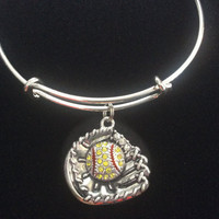 Crystal Softball Mitt Charm on a Silver Expandable Bangle Bracelet Sports Team Coach Gift Adjustable