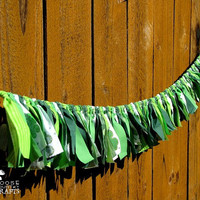 St. Patrick's Day rag garland, rustic, green, shamrocks, stpattysday mantle decoration,  photo prop, swag, clovers, stpatsday, irish