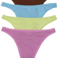 Fruit of the Loom Women's 4-Pack Cotton Fashion Thong Panties