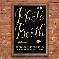 Photo booth wooden sign.  Approx. 13x19x.75 inches without frame.  With frame Approx. 14x20x2 inches.  Handmade.