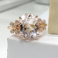 NEW DESIGN!10x12mm Oval Morganite Engagement Ring 14K Rose Gold!Diamond Wedding Bridal Ring,Butterfly,Filigree,Canmake matching band,Promise