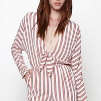 Lucca Couture Knot Tie Stripe Long Sleeve Romper at PacSun.com