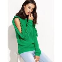 Women's Fashion Round-neck Long Sleeve Winter Knit Tops Jacket [11182512583]