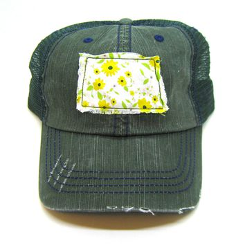 North Dakota Hat - Green Distressed Trucker Hat - Green and Yellow Daisy Applique - All United States Available