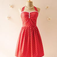 Red Dress Tea Length Dress Classic Red Polka Dot Dress Bridesmaid Party Dress Christmas Once Upon A Time -Size XS, S, M, L, XL,CUSTOM-