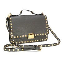 Cute! Pyramid Studs Small Club or Going Out Studded Messenger Satchel Bag Purse (Pewter)