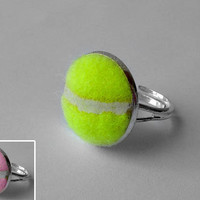 Real Tennis Ball Ring  Handmade Ring From a by SportsCufflinks