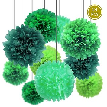 BLOWOUT Green Party Pack Tissue Paper Pom Pom Combo Set (24 pc Set)