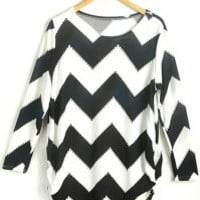 White and Black Long Sleeve Striped Knitted Blouse