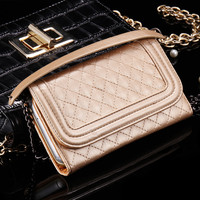 Mini Wallet Case For iPhone 6 6s 6 6s Plus Mirror Grid Purse Metal Chain Bag Leather Cover for Samsung S7 S7 Edge Note 3 5