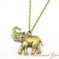elephant necklace,luck necklace,elephant jewerly,lucky bracelet, bridesmaid necklace,friendship gift,blessed garden