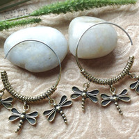 """Tribal Hanging Earrings, """"Dragonflies"""" Brass, Sterling Posts, Handcrafted"""