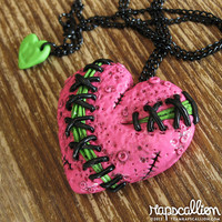 Stitched Zombie Heart Necklace - Hot Pink