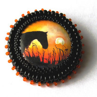 Bead embroidered brooch pin- original horse in sunset, orange and black * horse jewelry