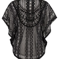 Unlined Lace Poncho - Black