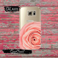 Light Pink Real Rose Flower Floral Petals Cute Tumblr Inspired Clear Galaxy S6 Case and Clear Galaxy S6 Edge Case Custom Samsung Case