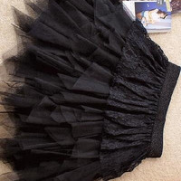 Dear-lover Ruffle Skirt , Black Lace Layered Skirt LC7064  Cheap price Drop Shipping (Size: M, Color: Black) = 1920334020