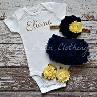 Baby Girl Take Home Outfit Newborn Baby Girl Custom Onesuit Bloomers Headband Sandals Set Navy Yellow Gold Silver