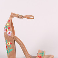 Shoe Republic LA Embroidered Floral Suede Chunky Heel