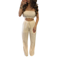 Plain Color Strapless Crop Top and Loose Pants