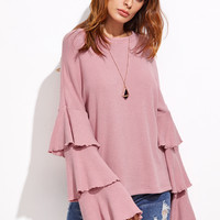 Pink Ribbed Top Layered Bell Sleeve