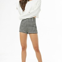 Houndstooth High-Waist Shorts